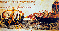 0602375 © Granger - Historical Picture ArchiveTURKEY.   Image from the Skylitzes manuscript in Madrid, showing Greek fire in use against the fleet of the Byzantine rebel Thomas the Slav, c. 820 CE.. Full credit: Pictures from History / Granger, NYC -- All rights reserved.