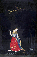 0602570 © Granger - Historical Picture ArchiveINDIA.   Abhisarika is a heroine, who sets aside her modesty and moves out of her home to secretly meet her lover. She is depicted at the door of her house and on her way to the tryst, defying all kinds of difficulties like the storm, snakes and dangers of the forest.. Full credit: Pictures from History / Granger, NYC -- All rights reserved.