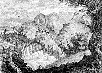0604246 © Granger - Historical Picture ArchiveCHINA.   A French expedition come across a fortress on the road to Lao-oua-tan in Yunnan province, as sketched by Louis Delaporte in 1868.. Full credit: Pictures from History / Granger, NYC -- All rights reserved.