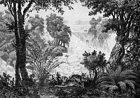 0604278 © Granger - Historical Picture ArchiveLAOS.   Tigers laze by the banks of the Mekong River at Don Isom waterfall near Khong Island (Don Khong), 1867.. Full credit: Pictures from History / Granger, NYC -- All rights reserved.