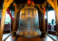 0605120 © Granger - Historical Picture ArchiveCHINA.   Bell in the Ten Thousand Buddha Pagoda, Du Fu Caotang (Du Fu's Thatched Cottage), Chengdu, Sichuan Province. Full credit: Pictures from History / Granger, NYC -- All rights reserved.