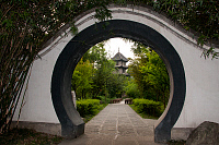 0605123 © Granger - Historical Picture ArchiveCHINA.   Moon gate, Du Fu Caotang (Du Fu's Thatched Cottage), Chengdu, Sichuan Province. Full credit: Pictures from History / Granger, NYC -- All rights reserved.