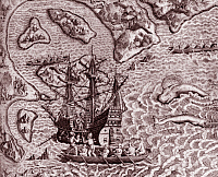 0605141 © Granger - Historical Picture ArchiveBRAZIL/ PORTUGAL.   The arrival of Cabral's fleet in Porto Seguro on the coast of Brazil in April 1500, as depicted on an engraving by Theodor de Bry.. Full credit: Pictures from History / Granger, NYC -- All rights reserved.