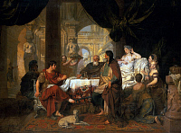 0606391 © Granger - Historical Picture ArchiveEGYPT.   ?ÇÿCleopatra?ÇÖs Banquet?ÇÖ?Çöa 1680 oil painting by Gerard Lairesse.. Full credit: Pictures from History / Granger, NYC -- All rights reserved.
