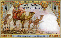 0606869 © Granger - Historical Picture ArchiveDJIBOUTI.   A 50 franc banknote for the C??te Fran?ºaise des Somalis (French Somali Coast), issued in 1952, 25 years before independence (reverse). Full credit: Pictures from History / Granger, NYC -- All rights reserved.