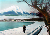 0607094 © Granger - Historical Picture ArchiveJAPAN.   Mount Fuji from the snowy shore of Lake Yamanaka, Yamanashhi Prefecture, c.1910. Full credit: Pictures from History / Granger, NYC -- All rights reserved.