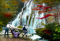 0607134 © Granger - Historical Picture ArchiveJAPAN.   Geisha being carried in a kago or carrying chair pauses to admire a waterfall, c.1900. Full credit: Pictures from History / Granger, NYC -- All rights reserved.