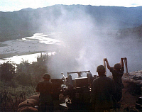 0608307 © Granger - Historical Picture ArchiveVIETNAM.   Troops from the US 7th Cavalry Division firing a quad 50 machine gun during a 'Search and Destroy' operation in Binh Dinh Province, 1967. Full credit: Pictures from History / Granger, NYC -- All rights reserved.