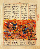 0608861 © Granger - Historical Picture ArchivePERSIA / IRAN.   Rustam kills Alkus with a lance, Firdausi, Shahnama, South Asia, c. 1450. Full credit: Pictures from History / Granger, NYC -- All rights reserved.