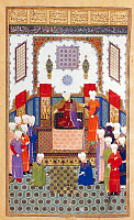 0610159 © Granger - Historical Picture ArchiveIRAN / PERSIA / UZBEKISTAN.   Bozorgmehr, King Anushirvan's grand vizier, challenges the Indian envoy to a game of chess. Full credit: Pictures from History / Granger, NYC -- All rights reserved.