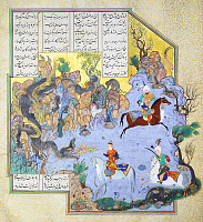0610163 © Granger - Historical Picture ArchiveIRAN / PERSIA.   Faridun, in the guise of a dragon, tests his sons, Shahnameh, 1525?Çô1535. Full credit: Pictures from History / Granger, NYC -- All rights reserved.