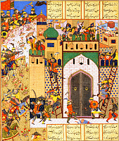 0610310 © Granger - Historical Picture ArchiveIRAN / PERSIA.   Shah Anushirvan Captures the Fortress of Saqila. Miniature from a copy of Firdawsi?ÇÖs Shahnameh, Shiraz, mid-16th century. Full credit: Pictures from History / Granger, NYC -- All rights reserved.