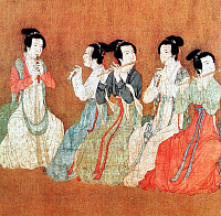 0610746 © Granger - Historical Picture ArchiveCHINA.   Five women playing flutes. Detail from the painting 'Night Revels of Han Xizai' by Gu Hongzhong. Full credit: Pictures from History / Granger, NYC -- All rights reserved.