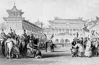 0610779 © Granger - Historical Picture ArchiveCHINA.   'Emperor Daoguang Reviewing His Guards', by Thomas Allom, c. 1845. Full credit: Pictures from History / Granger, NYC -- All rights reserved.