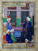 0611019 © Granger - Historical Picture ArchiveIRAN / PERSIA.   Delivering khutbah or Friday sermon in a mosque. Miniature from a Divan of Hafez Shirazi, Safavid, 16th century. Full credit: Pictures from History / Granger, NYC -- All rights reserved.