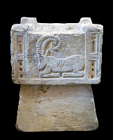 0611504 © Granger - Historical Picture ArchiveYEMEN.   Ancient South Arabian incense burner decorated with a bas-relief ibex, c. 200 BCE - 50 CE. Full credit: Pictures from History / Granger, NYC -- All rights reserved.