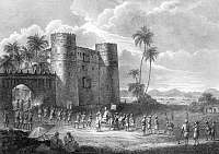 0611592 © Granger - Historical Picture ArchiveYEMEN.   The castle of the Sultan of Lahaj, southern Yemen. Henry Salt, c. 1805. Full credit: Pictures from History / Granger, NYC -- All rights reserved.