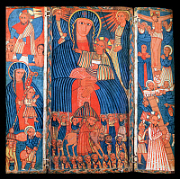 0611693 © Granger - Historical Picture ArchiveETHIOPIA.   Mary with the Christ child; The Entry of Christ into Jerusalem; The Crucifixion; Joseph and Nicodemus with the body of Christ; Christ Carrying the Cross; Flight into Egypt (left); Christ Raising Adam. Triptych in tempera, 17th century. Full credit: Pictures from History / Granger, NYC -- All rights reserved.