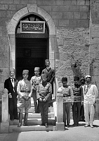 0611978 © Granger - Historical Picture ArchivePALESTINE.   Ottoman officials Prince Osman Fuad and Jamal Cemal Pasha at the Salahiyeh School, Jerusalem, 1917. Full credit: Pictures from History / Granger, NYC -- All rights reserved.