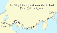 0612522 © Granger - Historical Picture ArchiveJAPAN.   Map of the 'Fifty Three Stations of the Tokaido', or East Sea Highway linking Edo (Tokyo) to Kyoto during the 18th and 19th centuries. Full credit: Pictures from History / Granger, NYC -- All rights reserved.