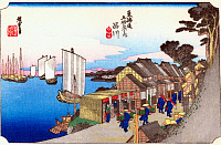 0612524 © Granger - Historical Picture ArchiveFIFTY-THREE STATIONS, 1834.   Shinagawa. Station 1 of the of 'The Fifty-three Stations of the Tokaido' (Hoeido edition) by Utagawa Hiroshige, 1833-1834. Full Credit: Pictures from History - CPA / Granger, NYC. All Rights Reserved.