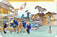 0612528 © Granger - Historical Picture ArchiveFIFTY-THREE STATIONS, 1834.   Totsuka. Station 5 of the of 'The Fifty-three Stations of the Tokaido' (Hoeido edition) by Utagawa Hiroshige, 1833-1834. Full Credit: Pictures from History - CPA / Granger, NYC. All Rights Reserved.
