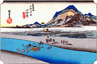 0612532 © Granger - Historical Picture ArchiveFIFTY-THREE STATIONS, 1834.   Odawara. Station 9 of the of 'The Fifty-three Stations of the Tokaido' (Hoeido edition) by Utagawa Hiroshige, 1833-1834. Full Credit: Pictures from History - CPA / Granger, NYC. All Rights Reserved.