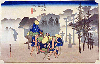 0612534 © Granger - Historical Picture ArchiveFIFTY-THREE STATIONS, 1834.  Mishima. Station 11 of the of 'The Fifty-three Stations of the Tokaido' (Hoeido edition) by Utagawa Hiroshige, 1833-1834. Full Credit: Pictures from History - CPA / Granger, NYC. All Rights Reserved.