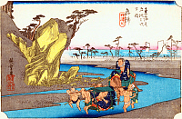 0612540 © Granger - Historical Picture ArchiveFIFTY-THREE STATIONS, 1834.  Okitsu. Station 17 of the of 'The Fifty-three Stations of the Tokaido' (Hoeido edition) by Utagawa Hiroshige, 1833-1834. Full Credit: Pictures from History - CPA / Granger, NYC. All Rights Reserved.