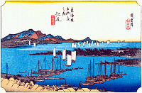 0612541 © Granger - Historical Picture ArchiveFIFTY-THREE STATIONS, 1834.  Ejiri. Station 18 of the of 'The Fifty-three Stations of the Tokaido' (Hoeido edition) by Utagawa Hiroshige, 1833-1834. Full Credit: Pictures from History - CPA / Granger, NYC. All Rights Reserved.