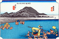 0612542 © Granger - Historical Picture ArchiveFIFTY-THREE STATIONS, 1834.  Fuchu. Station 19 of the of 'The Fifty-three Stations of the Tokaido' (Hoeido edition) by Utagawa Hiroshige, 1833-1834. Full Credit: Pictures from History - CPA / Granger, NYC. All Rights Reserved.