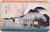 0612543 © Granger - Historical Picture ArchiveFIFTY-THREE STATIONS, 1834.  Mariko. Station 20 of the of 'The Fifty-three Stations of the Tokaido' (Hoeido edition) by Utagawa Hiroshige, 1833-1834. Full Credit: Pictures from History - CPA / Granger, NYC. All Rights Reserved.