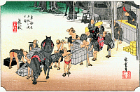 0612545 © Granger - Historical Picture ArchiveFIFTY-THREE STATIONS, 1834.  Fujieda. Station 22 of the of 'The Fifty-three Stations of the Tokaido' (Hoeido edition) by Utagawa Hiroshige, 1833-1834. Full Credit: Pictures from History - CPA / Granger, NYC. All Rights Reserved.