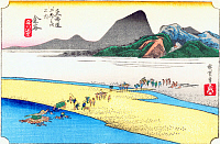 0612547 © Granger - Historical Picture ArchiveFIFTY-THREE STATIONS, 1834.  Kanaya. Station 24 of the of 'The Fifty-three Stations of the Tokaido' (Hoeido edition) by Utagawa Hiroshige, 1833-1834. Full Credit: Pictures from History - CPA / Granger, NYC. All Rights Reserved.
