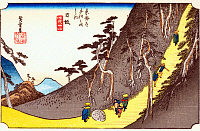 0612548 © Granger - Historical Picture ArchiveFIFTY-THREE STATIONS, 1834.  Nissaka. Station 25 of the of 'The Fifty-three Stations of the Tokaido' (Hoeido edition) by Utagawa Hiroshige, 1833-1834. Full Credit: Pictures from History - CPA / Granger, NYC. All Rights Reserved.