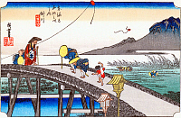 0612549 © Granger - Historical Picture ArchiveFIFTY-THREE STATIONS, 1834.  Kakegawa. Station 26 of the of 'The Fifty-three Stations of the Tokaido' (Hoeido edition) by Utagawa Hiroshige, 1833-1834. Full Credit: Pictures from History - CPA / Granger, NYC. All Rights Reserved.