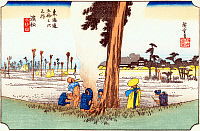 0612552 © Granger - Historical Picture ArchiveFIFTY-THREE STATIONS, 1834.  Hamamatsu. Station 29 of the of 'The Fifty-three Stations of the Tokaido' (Hoeido edition) by Utagawa Hiroshige, 1833-1834. Full Credit: Pictures from History - CPA / Granger, NYC. All Rights Reserved.