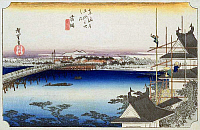 0612557 © Granger - Historical Picture ArchiveFIFTY-THREE STATIONS, 1834.  Yoshida. Station 34 of the of 'The Fifty-three Stations of the Tokaido' (Hoeido edition) by Utagawa Hiroshige, 1833-1834. Full Credit: Pictures from History - CPA / Granger, NYC. All Rights Reserved.