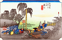 0612560 © Granger - Historical Picture ArchiveFIFTY-THREE STATIONS, 1834.  Fujikawa. Station 37 of the of 'The Fifty-three Stations of the Tokaido' (Hoeido edition) by Utagawa Hiroshige, 1833-1834. Full Credit: Pictures from History - CPA / Granger, NYC. All Rights Reserved.