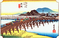 0612561 © Granger - Historical Picture ArchiveFIFTY-THREE STATIONS, 1834.  Okazaki. Station 38 of the of 'The Fifty-three Stations of the Tokaido' (Hoeido edition) by Utagawa Hiroshige, 1833-1834. Full Credit: Pictures from History - CPA / Granger, NYC. All Rights Reserved.