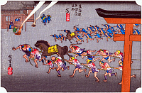 0612564 © Granger - Historical Picture ArchiveFIFTY-THREE STATIONS, 1834.  Miya. Station 41 of the of 'The Fifty-three Stations of the Tokaido' (Hoeido edition) by Utagawa Hiroshige, 1833-1834. Full Credit: Pictures from History - CPA / Granger, NYC. All Rights Reserved.