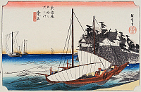 0612565 © Granger - Historical Picture ArchiveFIFTY-THREE STATIONS, 1834.  Kuwana. Station 42 of the of 'The Fifty-three Stations of the Tokaido' (Hoeido edition) by Utagawa Hiroshige, 1833-1834. Full Credit: Pictures from History - CPA / Granger, NYC. All Rights Reserved.