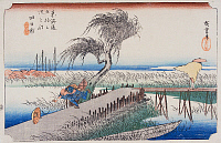 0612566 © Granger - Historical Picture ArchiveFIFTY-THREE STATIONS, 1834.  Yokkaichi. Station 43 of the of 'The Fifty-three Stations of the Tokaido' (Hoeido edition) by Utagawa Hiroshige, 1833-1834. Full Credit: Pictures from History - CPA / Granger, NYC. All Rights Reserved.