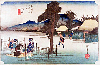 0612573 © Granger - Historical Picture ArchiveFIFTY-THREE STATIONS, 1834.  Minakuchi. Station 50 of the of 'The Fifty-three Stations of the Tokaido' (Hoeido edition) by Utagawa Hiroshige, 1833-1834. Full Credit: Pictures from History - CPA / Granger, NYC. All Rights Reserved.