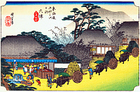 0612576 © Granger - Historical Picture ArchiveFIFTY-THREE STATIONS, 1834.  Otsu. Station 53 of the of 'The Fifty-three Stations of the Tokaido' (Hoeido edition) by Utagawa Hiroshige, 1833-1834. Full Credit: Pictures from History - CPA / Granger, NYC. All Rights Reserved.