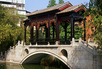 0612834 © Granger - Historical Picture ArchiveCHINA.   An ornate bridge in the Liang Yuan ornamental garden, Foshan, Guangdong Province. Full credit: Pictures from History / Granger, NYC -- All rights reserved.