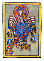0613194 © Granger - Historical Picture ArchiveIRELAND / SCOTLAND.   Detail, the Evangelical Symbols. St John as an eagle. Fol. 27 V. The Book of Kells, c. 800 CE. Full credit: Pictures from History / Granger, NYC -- All rights reserved.