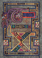0613209 © Granger - Historical Picture ArchiveIRELAND / SCOTLAND.   Tunc Crucifixerent XPI Cum Os latrones. Fol. 124 R. The Book of Kells, c. 800 CE. Full credit: Pictures from History / Granger, NYC -- All rights reserved.