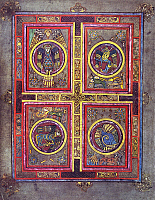 0613210 © Granger - Historical Picture ArchiveIRELAND / SCOTLAND.   The Evangelical Symbols. Fol. 129 V. The Book of Kells, c. 800 CE. Full credit: Pictures from History / Granger, NYC -- All rights reserved.