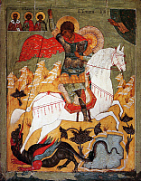 0613822 © Granger - Historical Picture ArchiveRUSSIA.   Icon of St George and the Dragon, Pskov, 16th century. Full credit: Pictures from History / Granger, NYC -- All rights reserved.